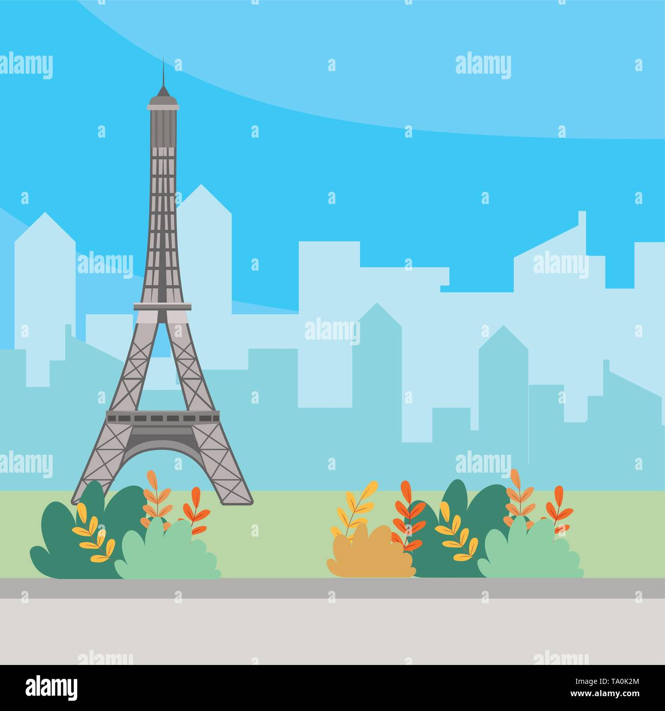 Eiffel tower landmark design, Travel trip vacation tourism journey and tourist theme Vector illustration - Stock Image