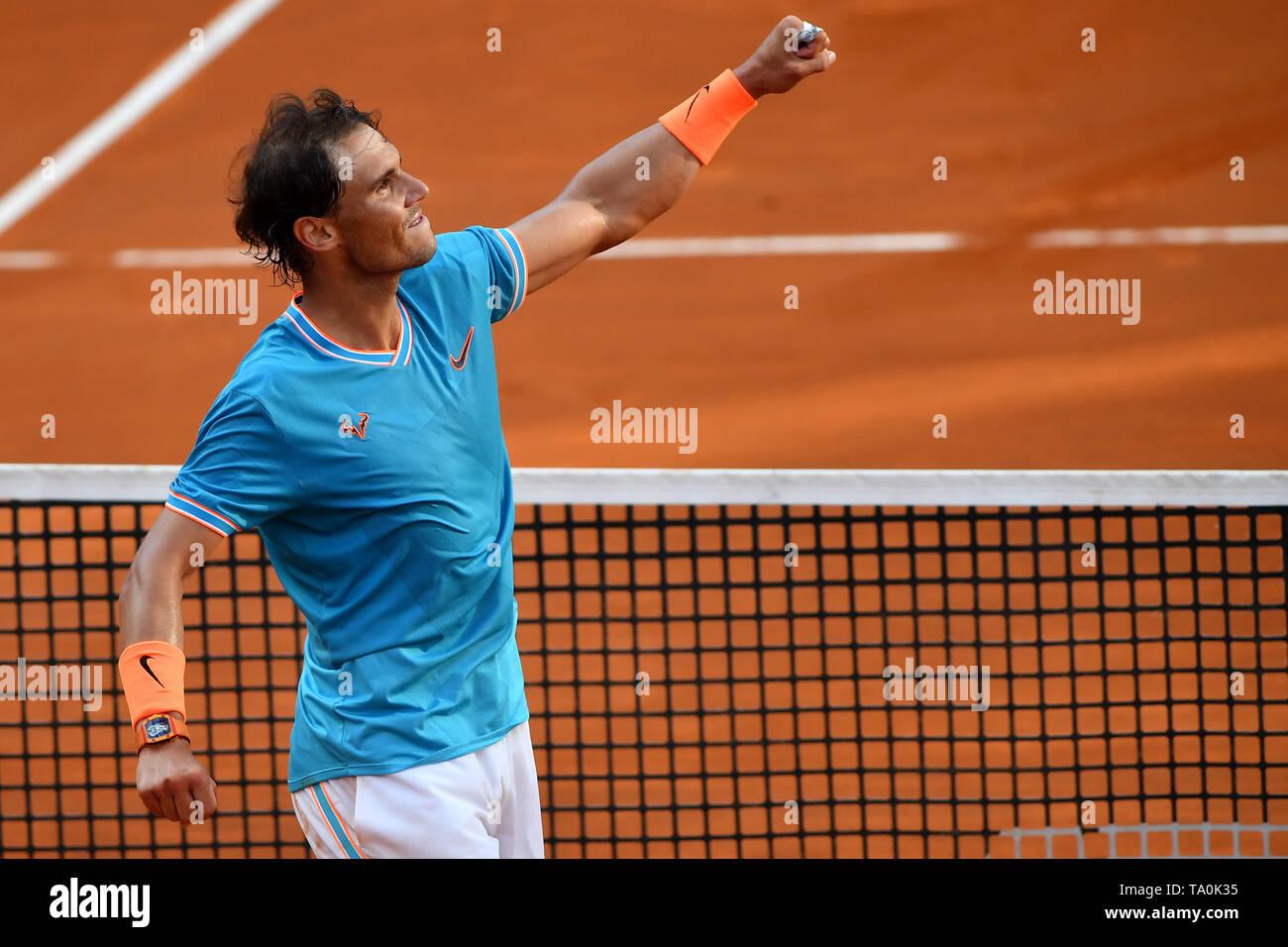 Rafael Nadal of Spain celebrates after winning the men's final match against Novak Djokovic of Serbia. Rafael Nadal won 6-0, 4-6, 6-1  Roma 19/05/2019 - Stock Image