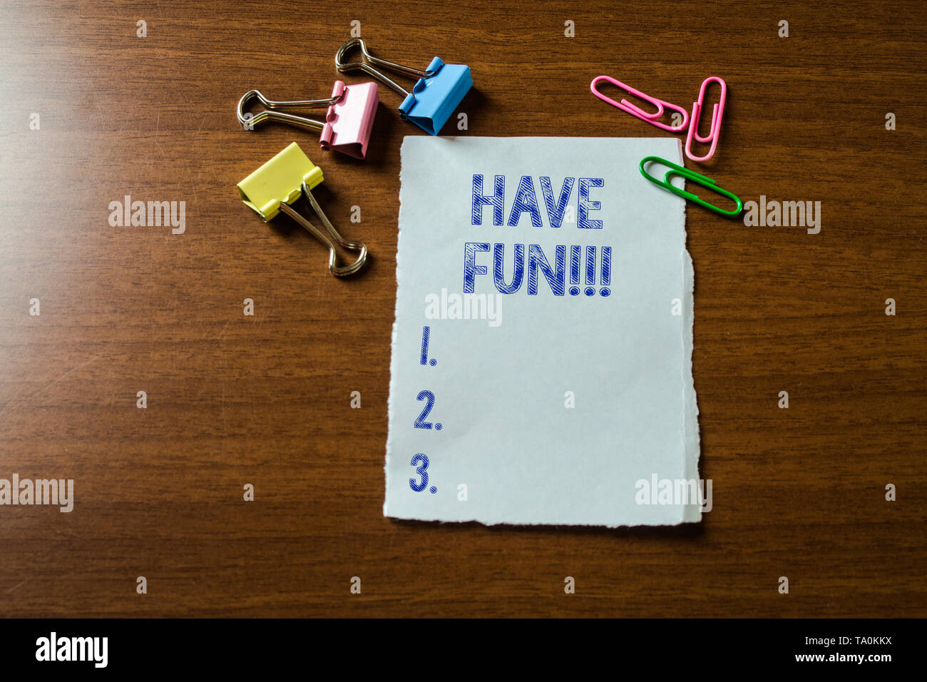 Handwriting text writing Have Fun. Conceptual photo wish somebody good and enjoyable time when they do something Blank stationary paper set three colo - Stock Image