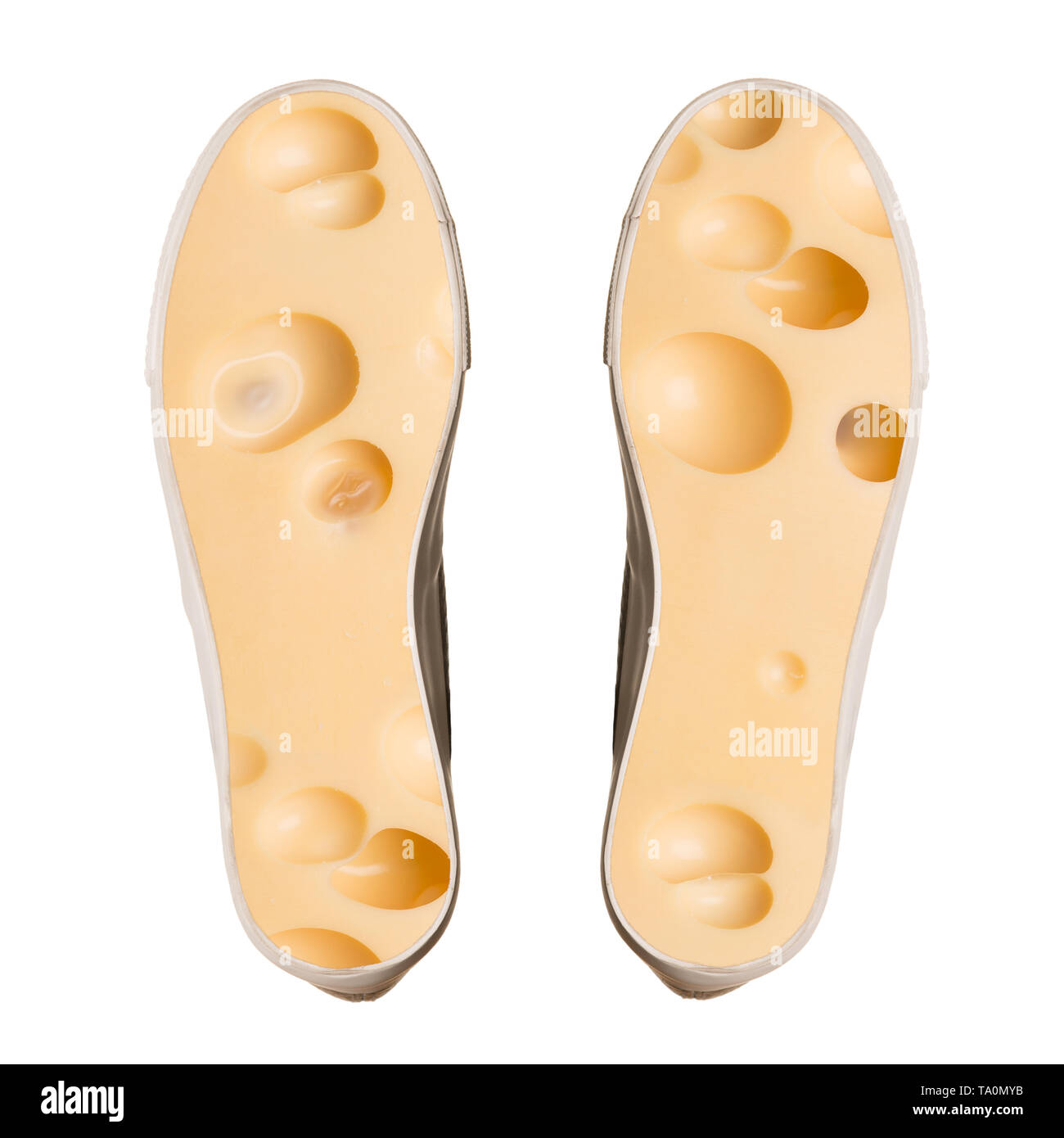 Stinky feet concept isolated on white background. - Stock Image