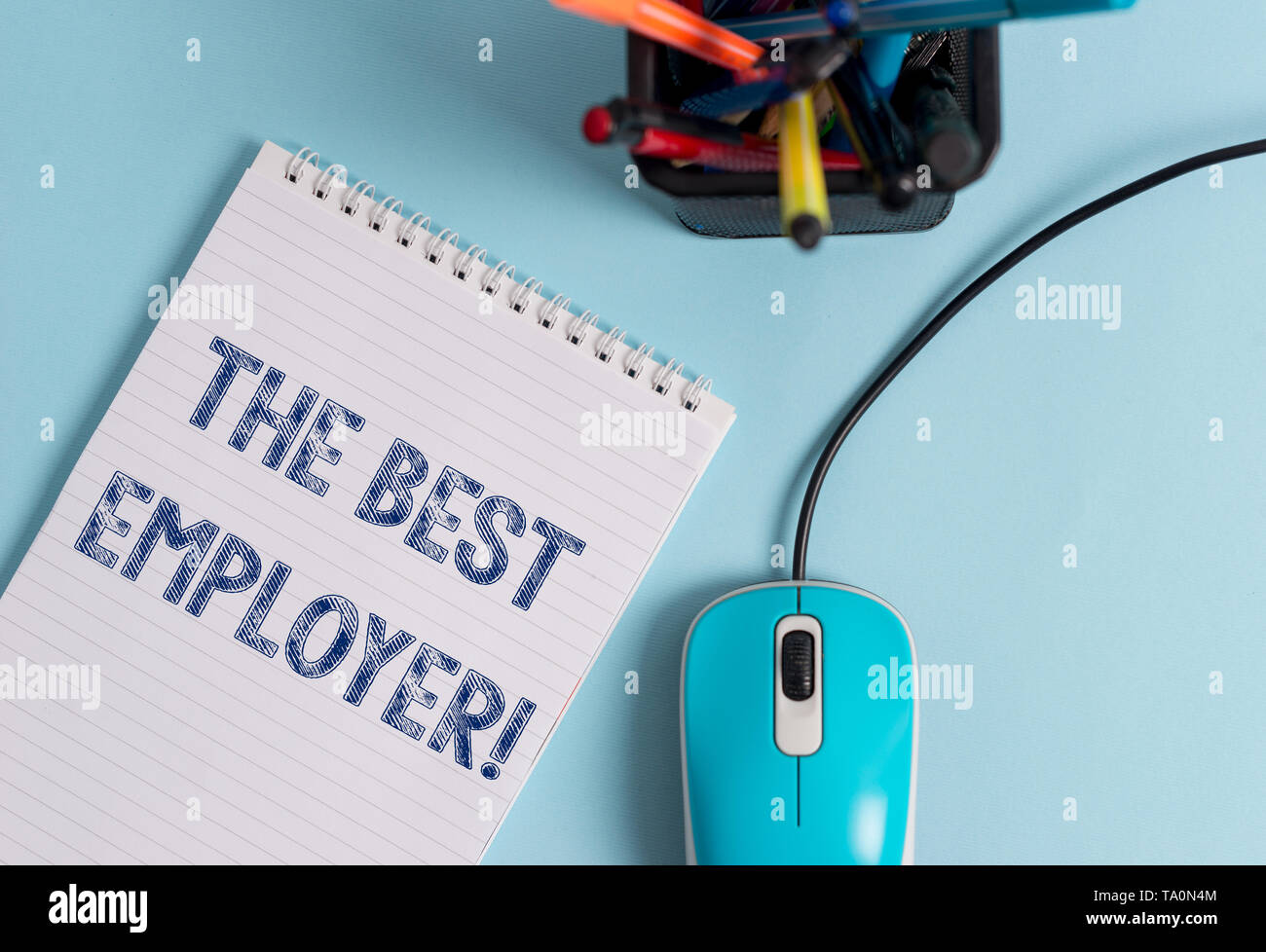 Conceptual hand writing showing The Best Employer. Concept meaning created workplace showing feel heard and empowered - Stock Image