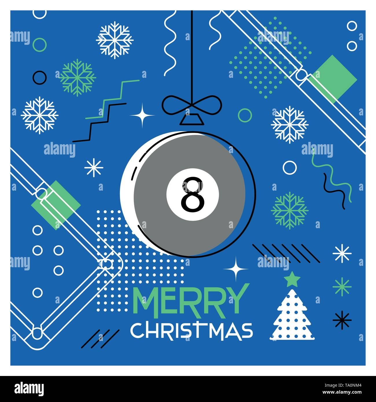 Merry Christmas. Greeting card with Christmas ball as a billiard ball. Abstract flat design. Vector illustration. - Stock Image