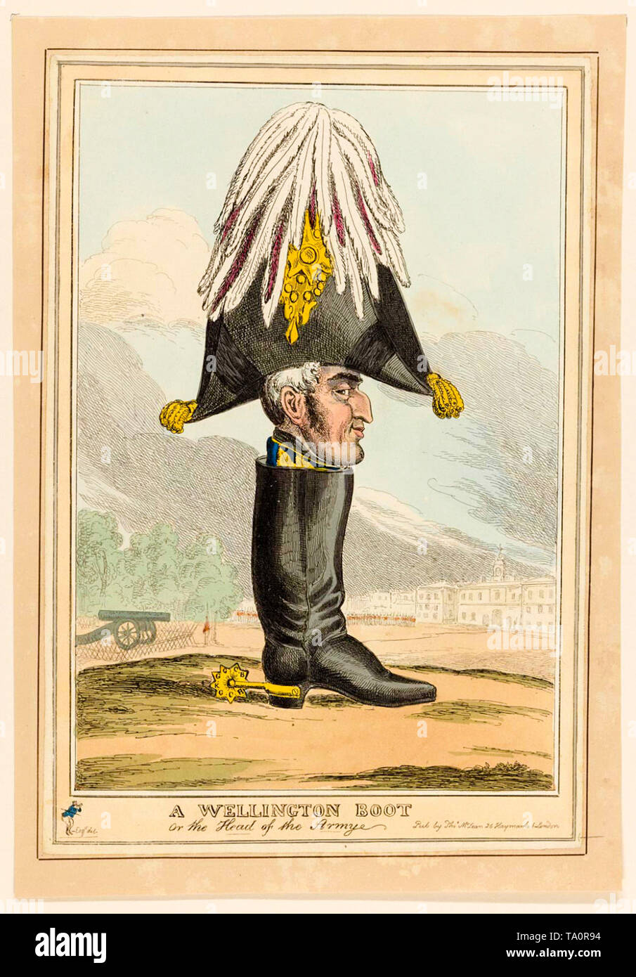 A Wellington Boot, or the Head of the Army, British political cartoon lampooning the Duke of Wellington, William Heath, late 18th Century - Stock Image