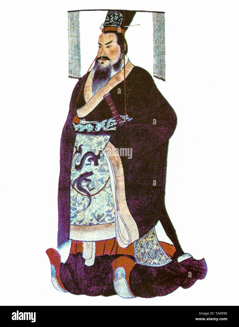 Qin Shi Huang, the first emperor of China, portrait painting, c 1850 - Stock Image