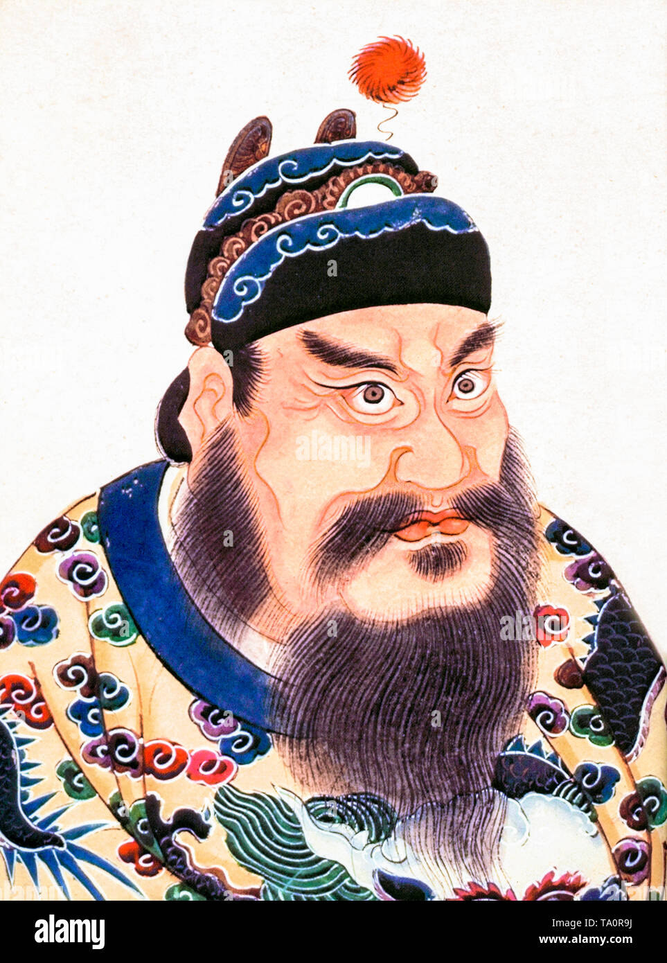 Qin Shi Huang, portrait painting, 18th Century - Stock Image