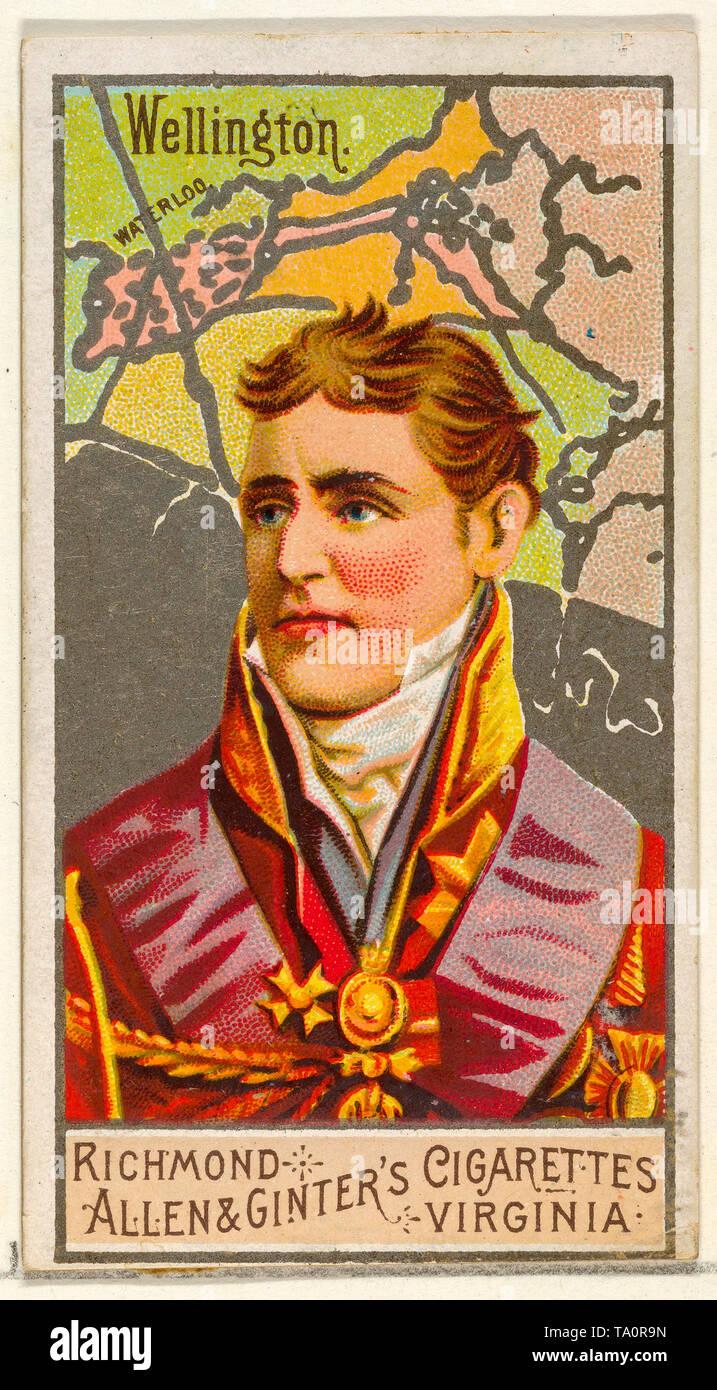 Arthur Wellesley, 1st Duke of Wellington, Cigarette card, portrait 1888 - Stock Image