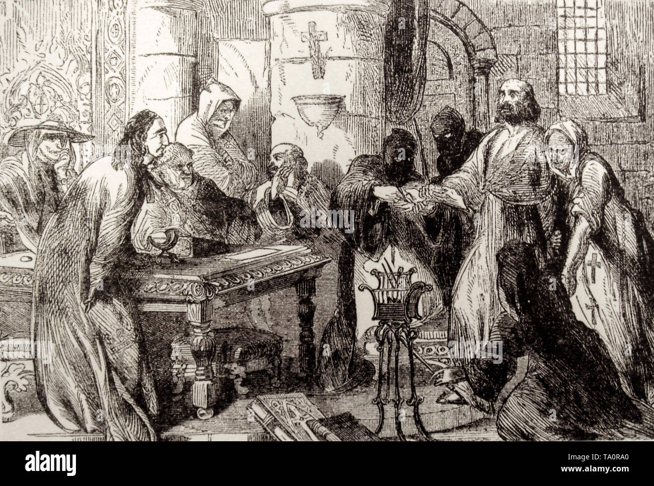 Interrogation Of Jacques De Molay, Grand Master of the Knights Templar, 19th Century engraving - Stock Image