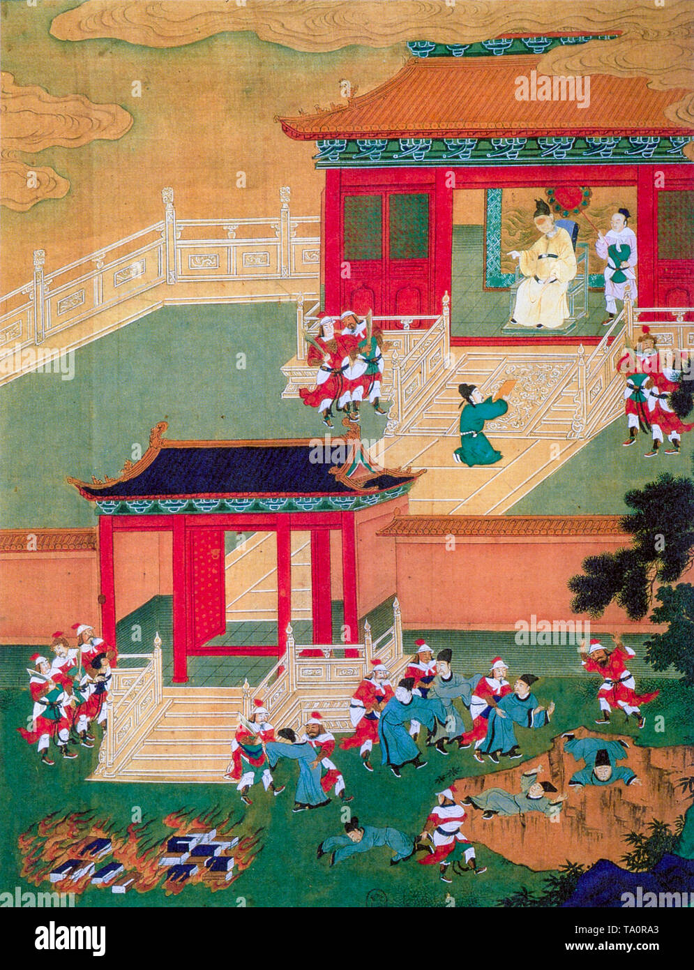 Burning of books and burying of alive of Confucian scholars in China under Qin Shi Huang in 213 BC, painting, 18th Century - Stock Image