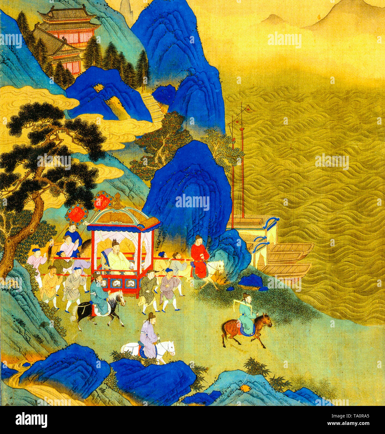 Qin Shi Huang's imperial tour across his empire, painting, 18th Century - Stock Image