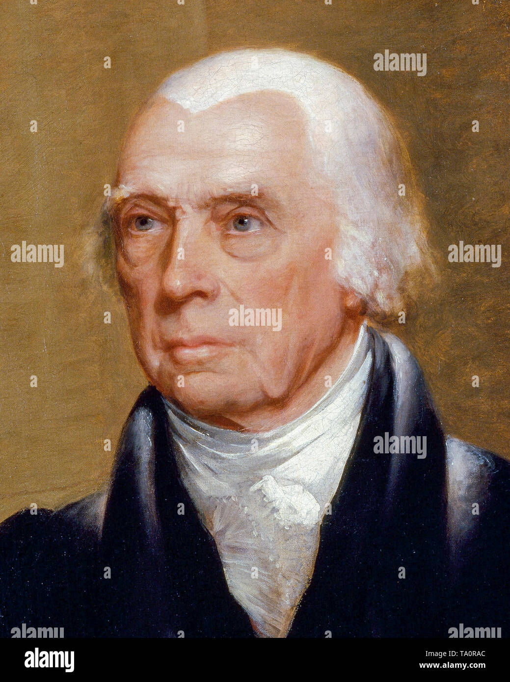 James Madison, portrait painting (detail) by Chester Harding c. 1829 - Stock Image