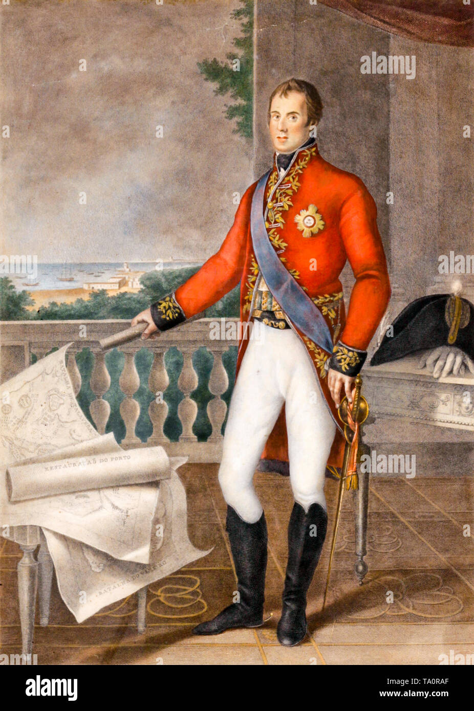 The Duke of Wellington, portrait in military uniform, engraving by Francesco Bartolozzi, c. 1810 - Stock Image