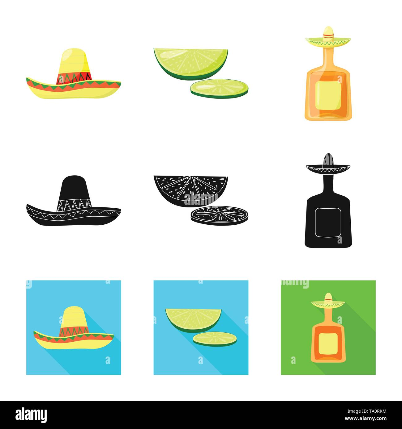 Vector design of cafe and Latin icon. Set of cafe and national vector icon for stock. - Stock Image