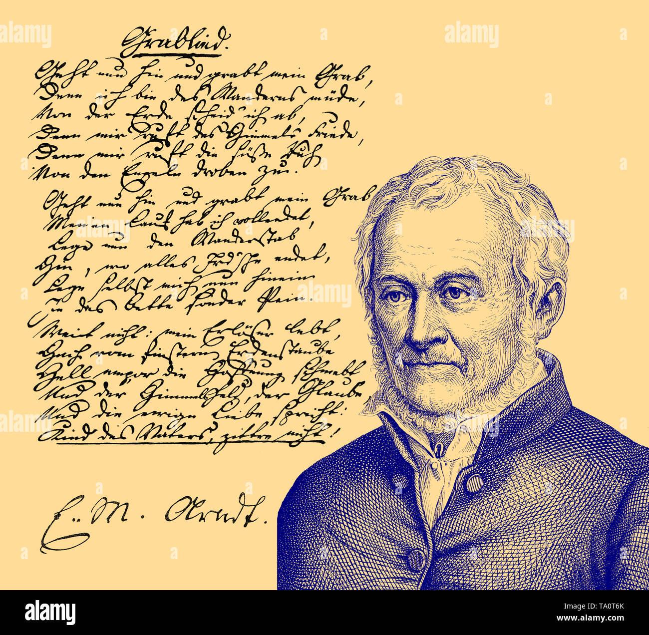 Ernst Moritz Arndt, 1769 - 1860, a German writer and deputy of the National Assembly in Frankfurt, Ernst Moritz Arndt, 1769 - 1860, ein deutscher Schr - Stock Image