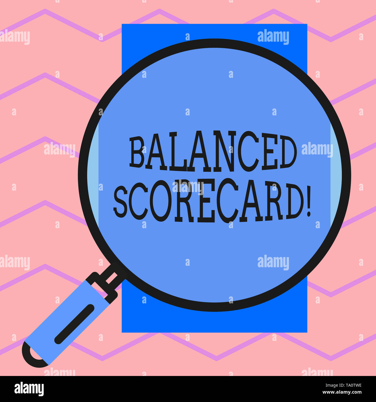 Text sign showing Balanced Scorecard. Business photo text a perforanalysisce metric used in strategic analysisagement Round magnifying glass with iron - Stock Image