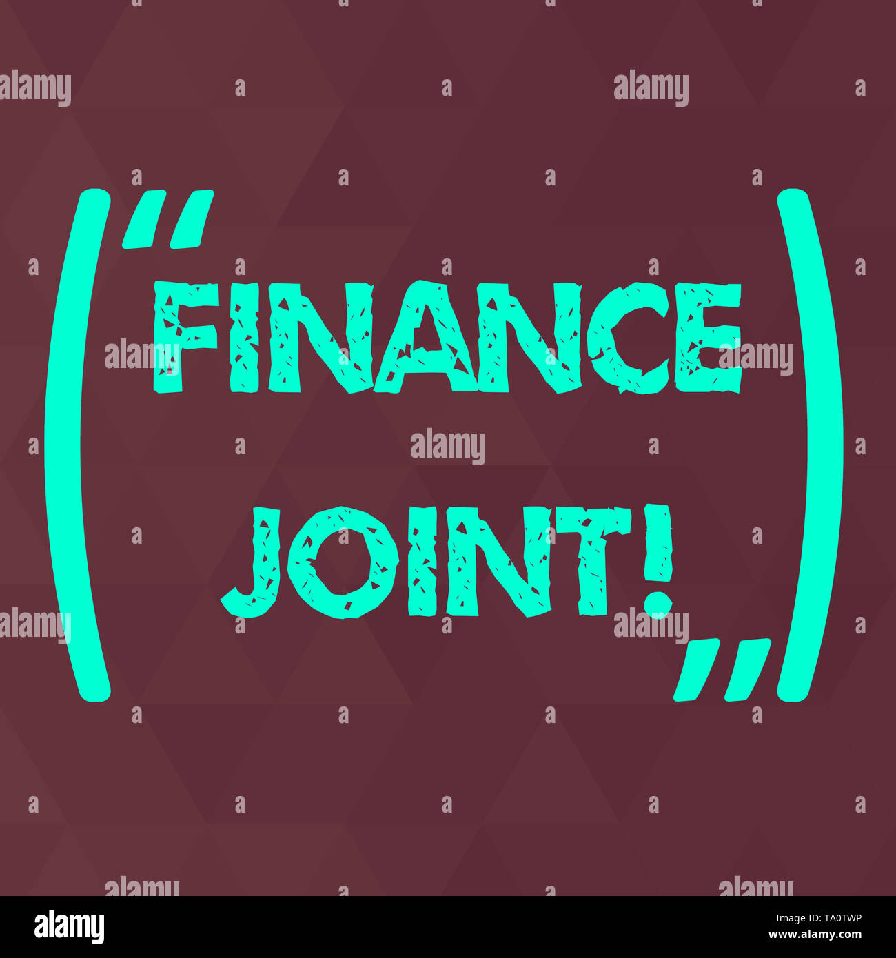 Word writing text Finance Joint. Business photo showcasing provision of funds for a project came from two or more sources Maroon Monochrome Triangle M - Stock Image