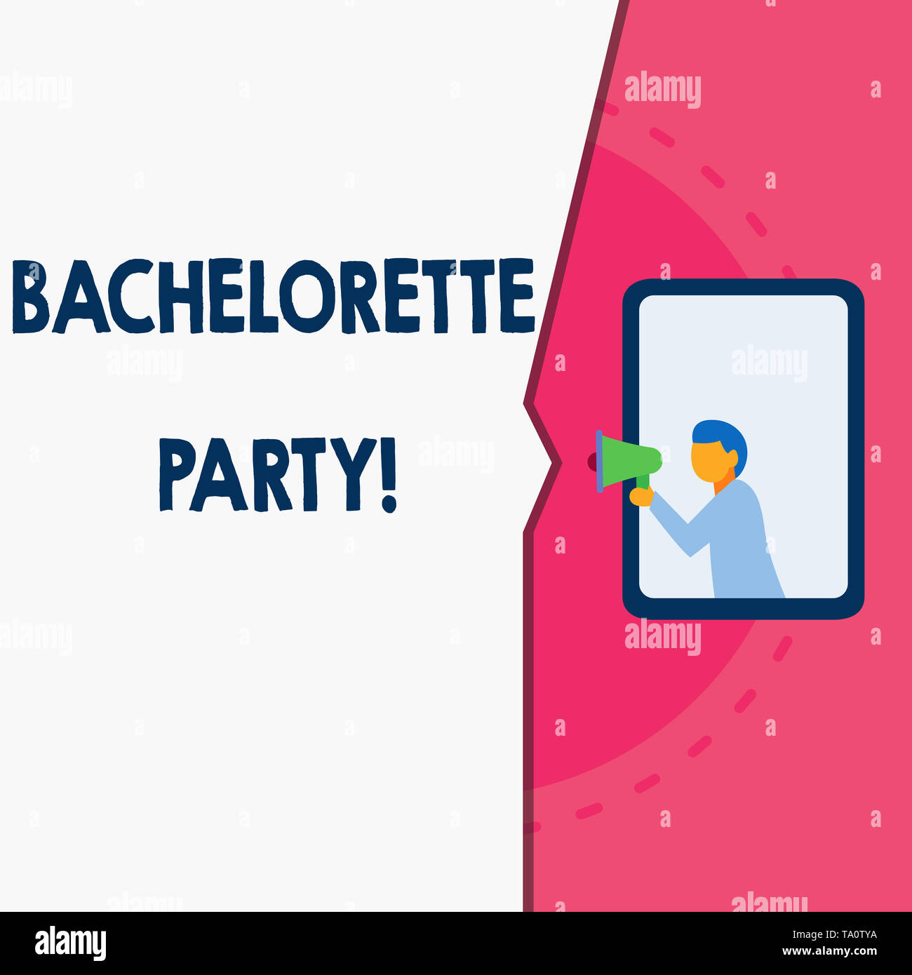Word writing text Bachelorette Party. Business photo showcasing a party given for a woanalysis who is about to get married Man stands in window hold l - Stock Image