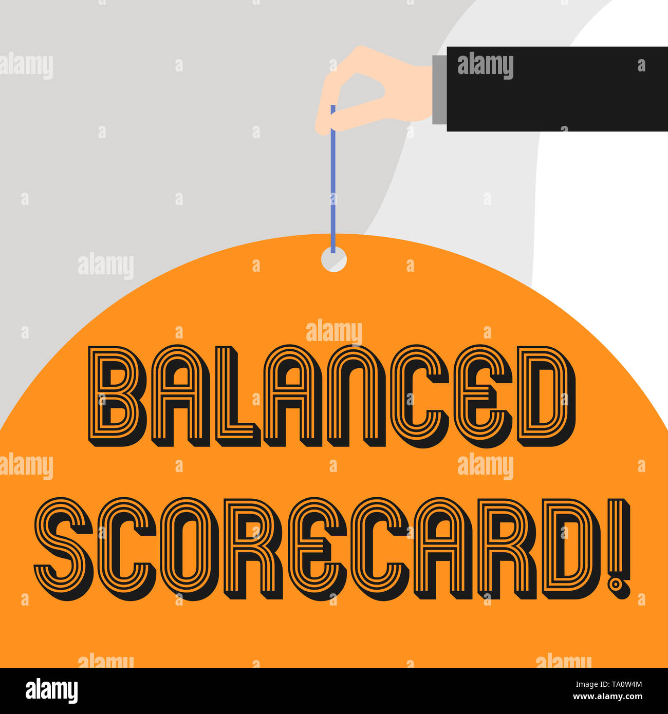 Text sign showing Balanced Scorecard. Business photo showcasing a perforanalysisce metric used in strategic analysisagement - Stock Image