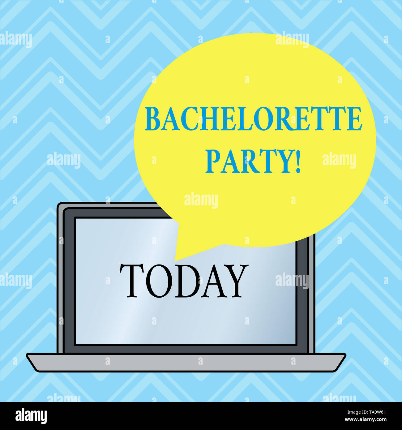 Handwriting text writing Bachelorette Party. Conceptual photo a party given for a woanalysis who is about to get married Round Shape Empty Speech Bubb - Stock Image