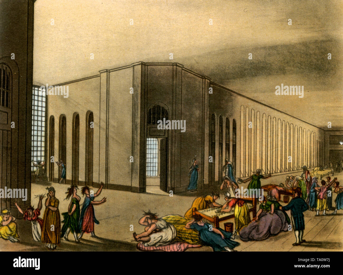 St Luke's Hospital, c1808-1810. A print from 'The Microcosm of London', by William Henry Pyne (1770-1843). Artists: Thomas Rowlandson (1756-1827) and Auguste Charles Pugin (1762–1832). St Luke's Hospital for Lunatics was founded in London in 1751 for the treatment of incurable pauper lunatics and was designed by George Dance the Younger. - Stock Image