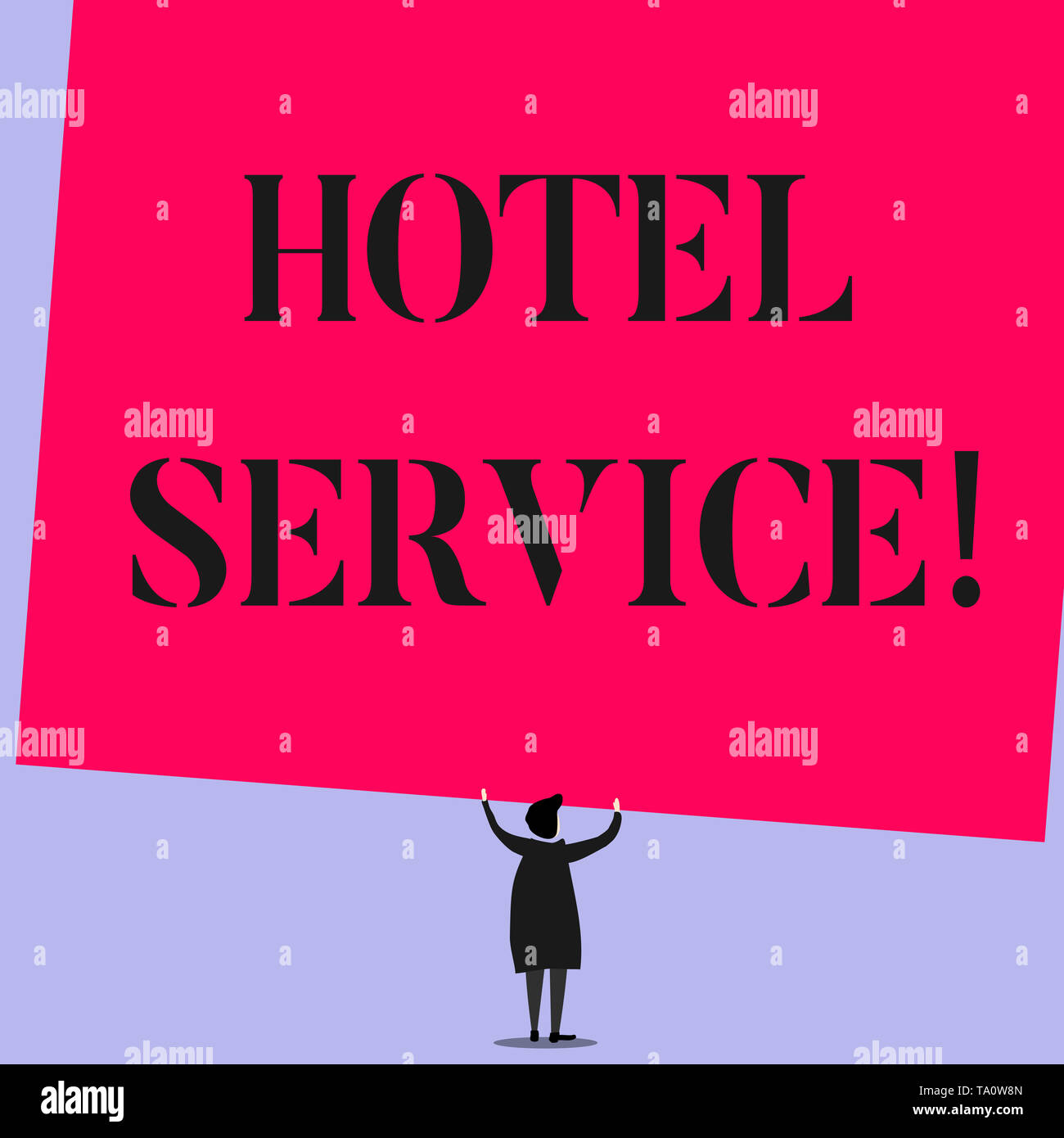 Word writing text Hotel Service. Business photo showcasing Providing guests warm accommodation and other services - Stock Image