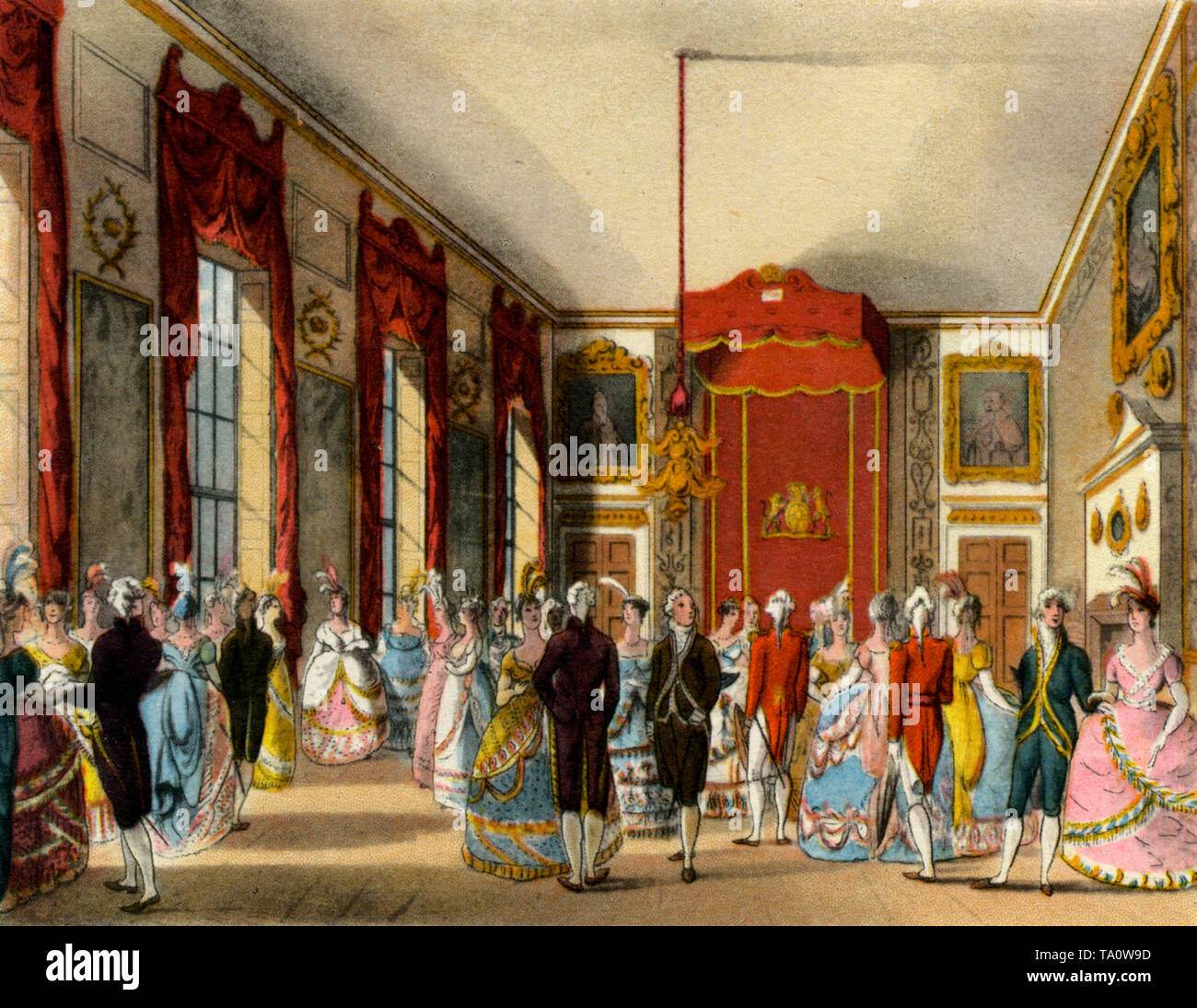 Drawing Room at St. James's Palace, c1808-1810. A print from 'The Microcosm of London', by William Henry Pyne (1770-1843). Artists: Thomas Rowlandson (1756-1827) and Auguste Charles Pugin (1762–1832). Commissioned by King Henry VIII St James's Palace is still the official residence of the British Sovereign. - Stock Image