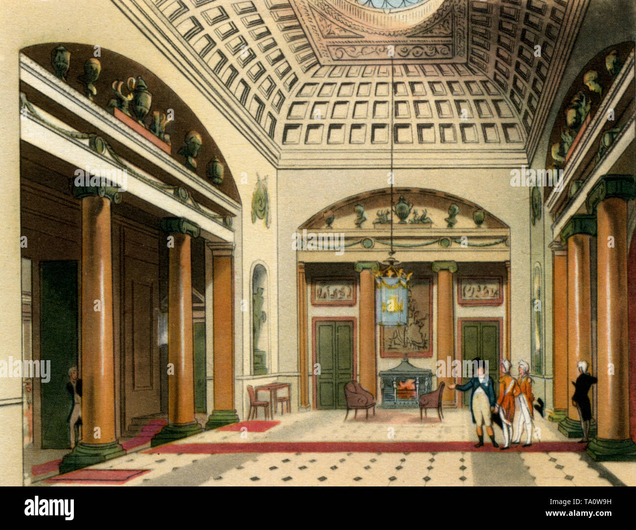 The Entrance Hall, Carlton House, c1808-1810. A print from 'The Microcosm of London', by William Henry Pyne (1770-1843). Artists: Thomas Rowlandson (1756-1827) and Auguste Charles Pugin (1762–1832). Carlton House is best known as the town residence of the Prince Regent later King George IV (1762–1830). Its principal architect was Henry Holland (1745–1806). - Stock Image