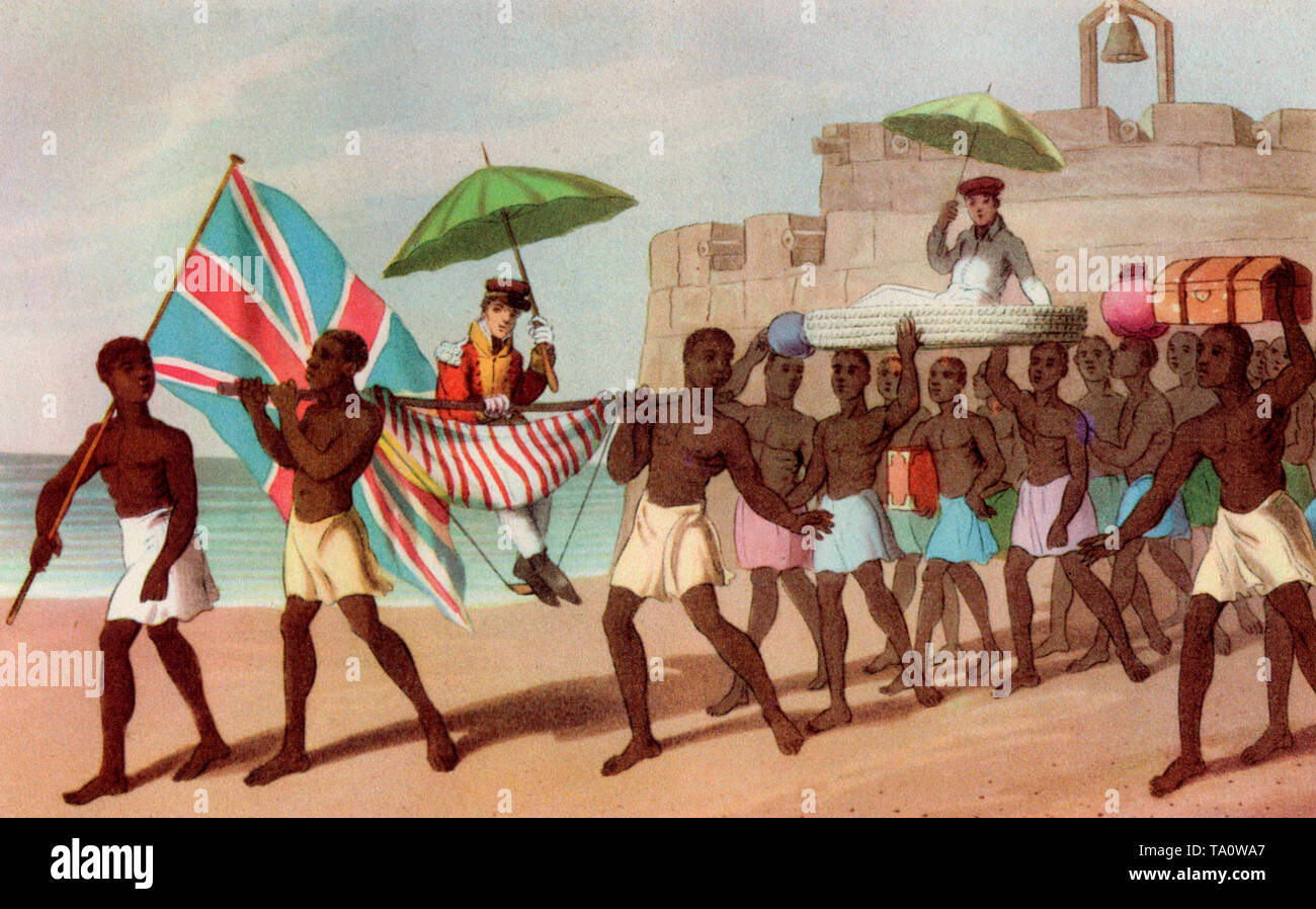 Mode of Travelling in Africa, 1820. From W Hutton's 'Voyages to Africa', 1821. Europeans being carried on litters, Gold Coast 1820. This coloured aquatint by I. Clark after William Hutton shows Britishers being carried on litters. An African man leads carrying the British flag. Hutton was the British government's consul to Ashanti. - Stock Image