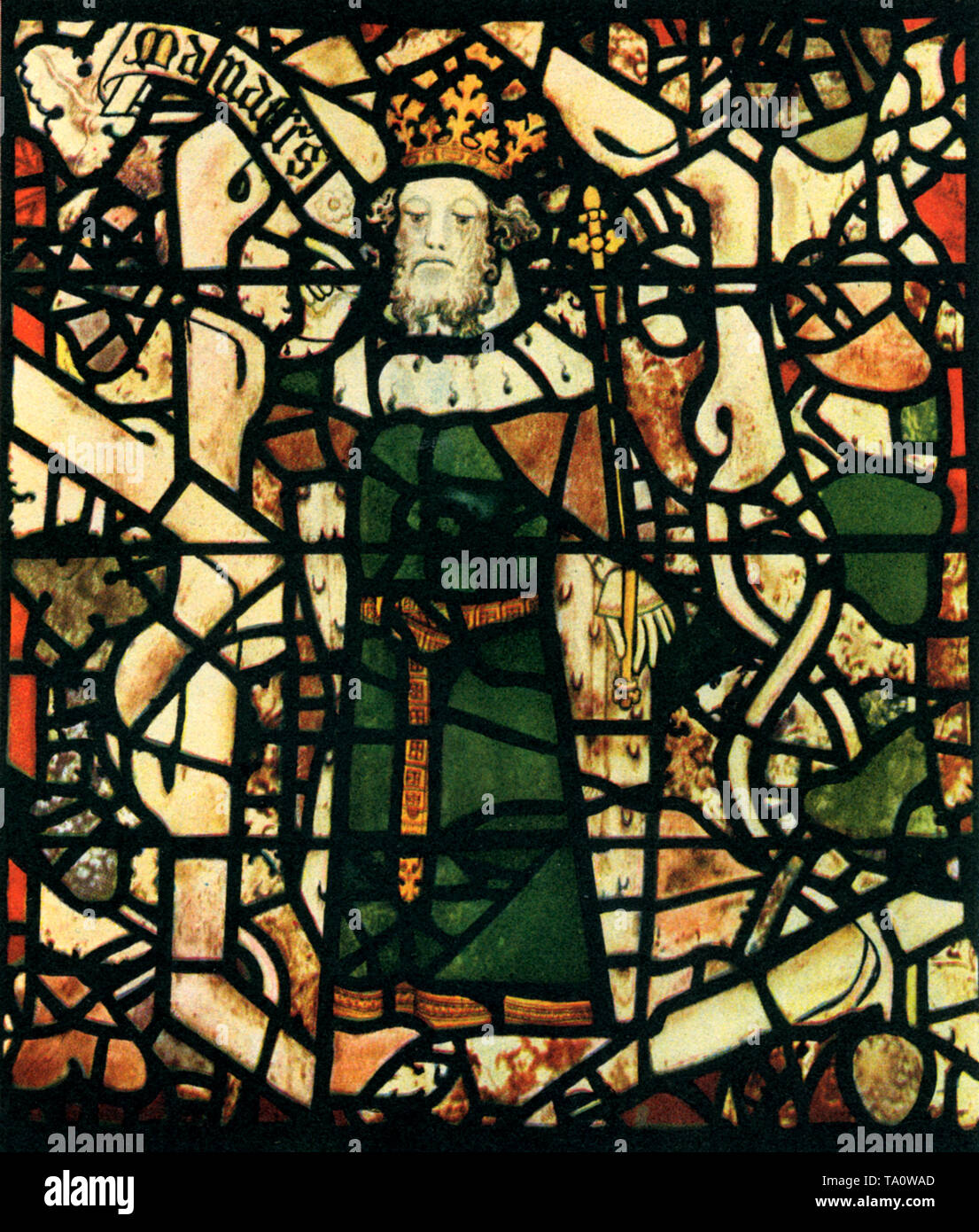 The Tree of Jesse was made c1386 for the west window of the anti-chapel of the New College, Oxford by Thomas Glazier of Oxford. The glass was later installed in the Choir of York Minster in 1770 after it was given to William Peckitt as part-payment for his work for New College. In this detail of the window we see King Manasses of Judah (c709 BC-c643 BC). - Stock Image