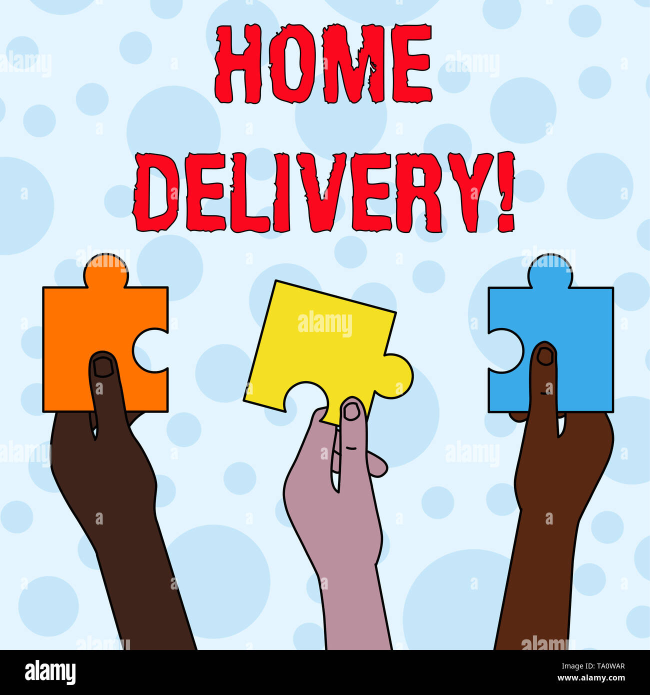 Handwriting text writing Home Delivery. Conceptual photo act of taking goods or parcel directly to customers home Three Colored Empty Jigsaw Puzzle Pi - Stock Image