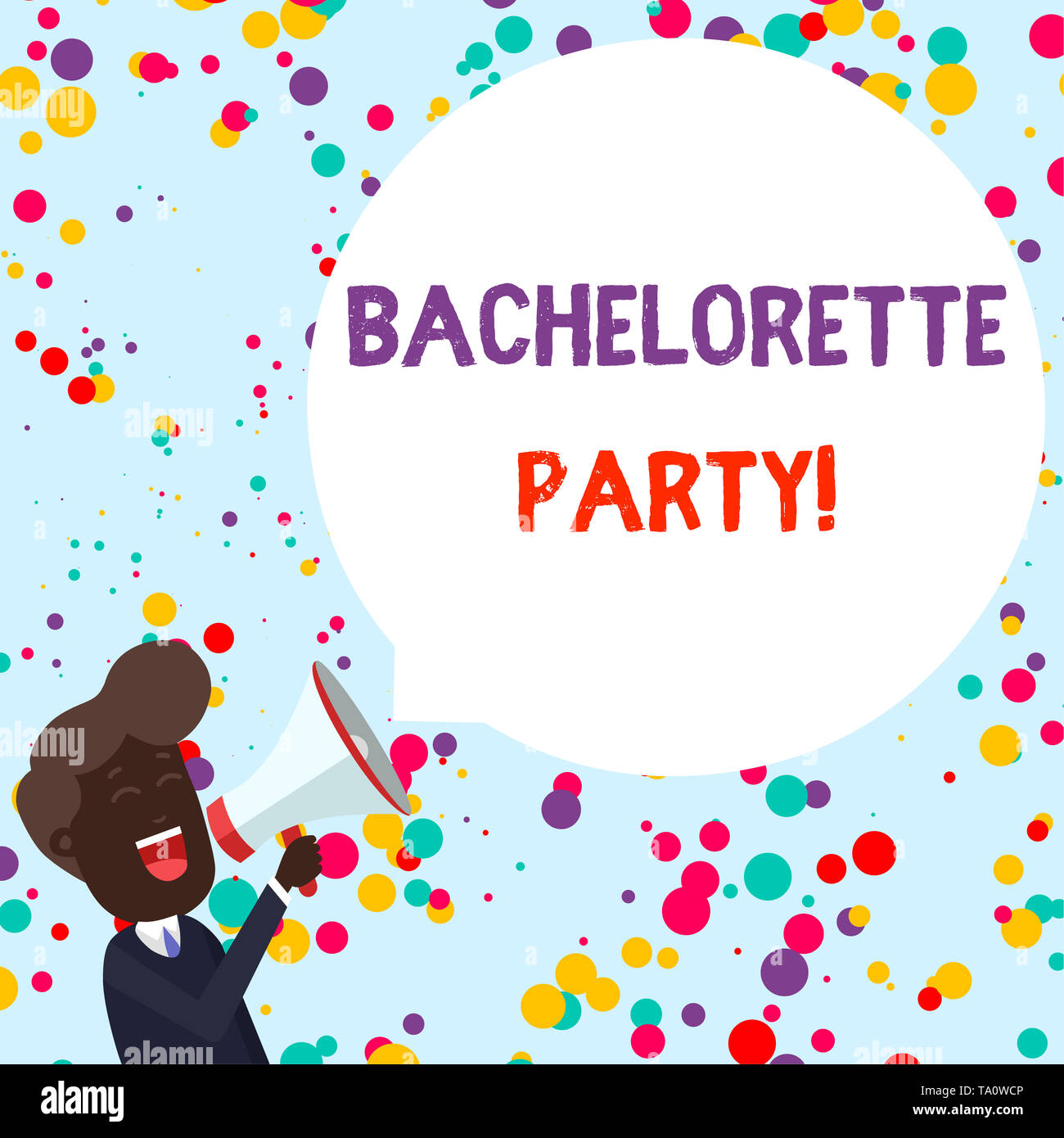 Writing note showing Bachelorette Party. Business concept for a party given for a woanalysis who is about to get married Young Man Shouting in Megapho - Stock Image