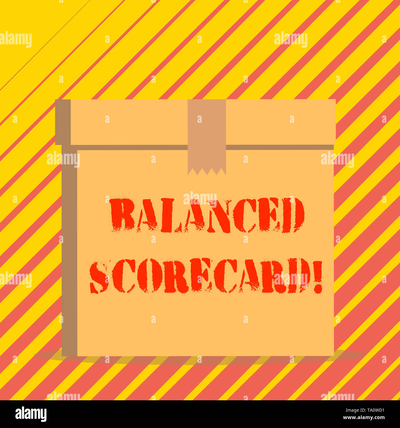 Conceptual hand writing showing Balanced Scorecard. Concept meaning a perforanalysisce metric used in strategic analysisagement Rectangular hard carto - Stock Image