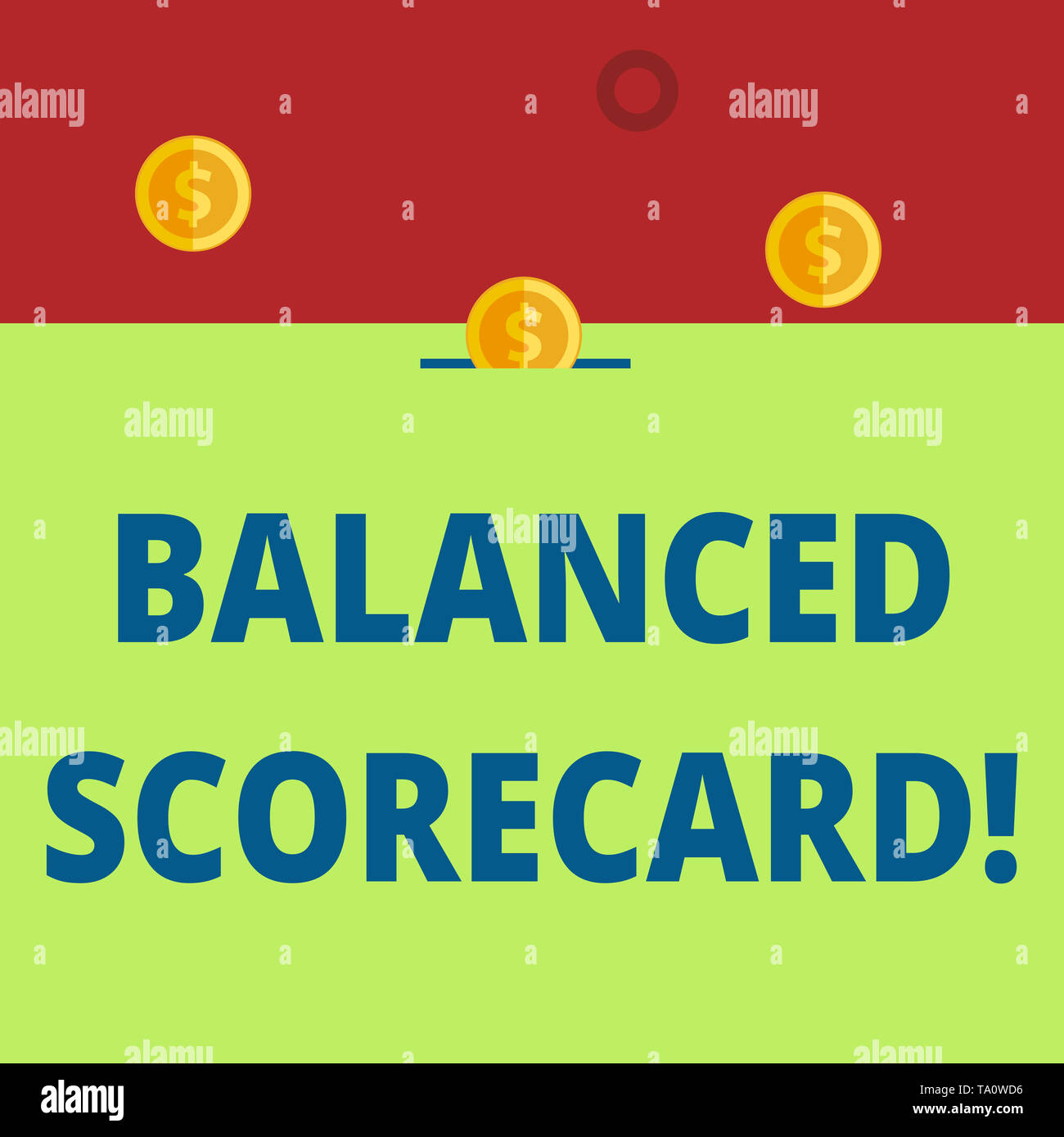 Word writing text Balanced Scorecard. Business photo showcasing a perforanalysisce metric used in strategic analysisagement Three gold spherical coins - Stock Image
