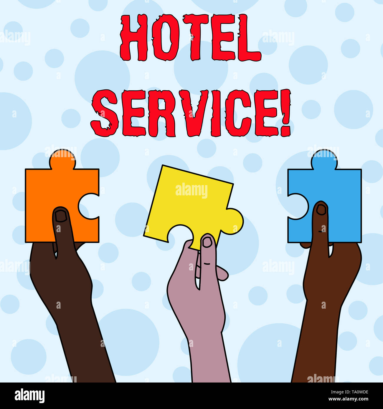 Handwriting text writing Hotel Service. Conceptual photo Providing guests warm accommodation and other services Three Colored Empty Jigsaw Puzzle Piec - Stock Image