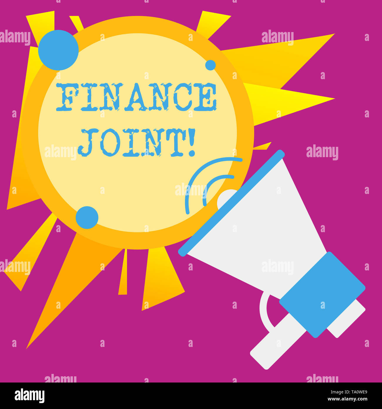 Writing note showing Finance Joint. Business concept for provision of funds for a project came from two or more sources SpeakingTrumpet Empty Round St - Stock Image