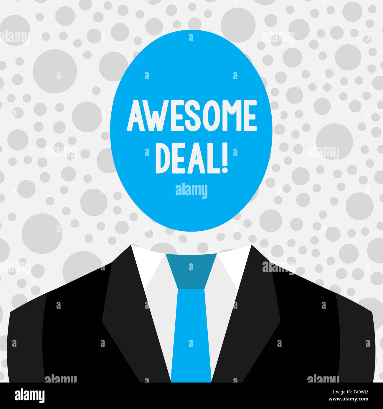 Conceptual hand writing showing Awesome Deal. Concept meaning A large but indefinite quantity as like as a good deal of money Symbolic Drawing Figure  - Stock Image