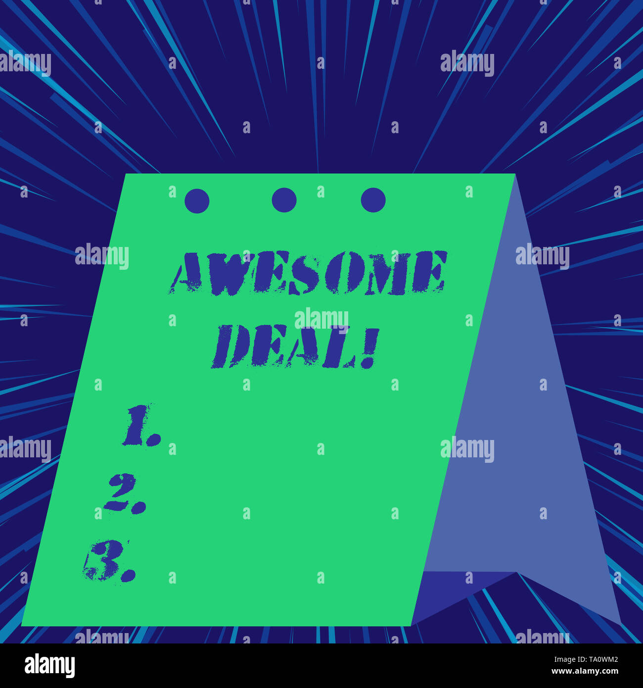Text sign showing Awesome Deal. Business photo showcasing A large but indefinite quantity as like as a good deal of money - Stock Image