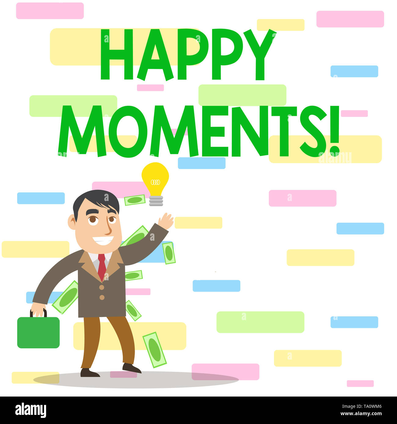 Writing note showing Happy Moments. Business concept for Feelings of pleasure or satisfaction with their life Successful Businessman Generating Idea o - Stock Image