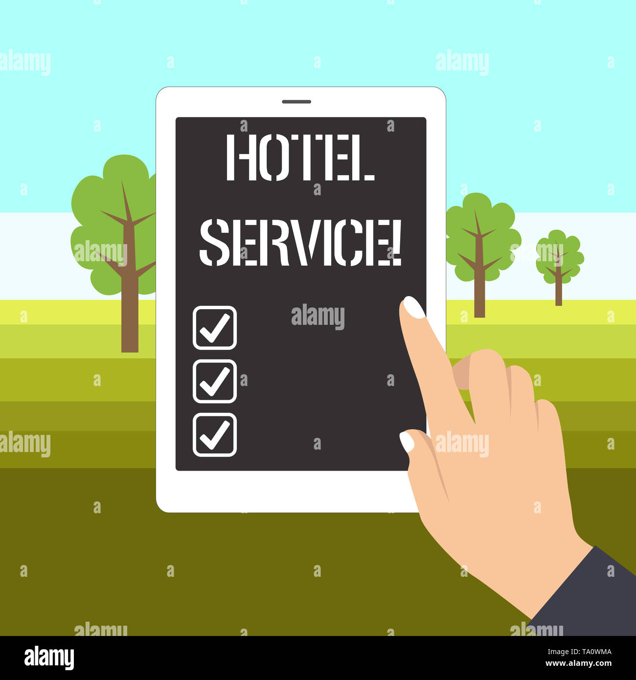 Word writing text Hotel Service. Business photo showcasing Providing guests warm accommodation and other services Female Hand with White Polished Nail - Stock Image