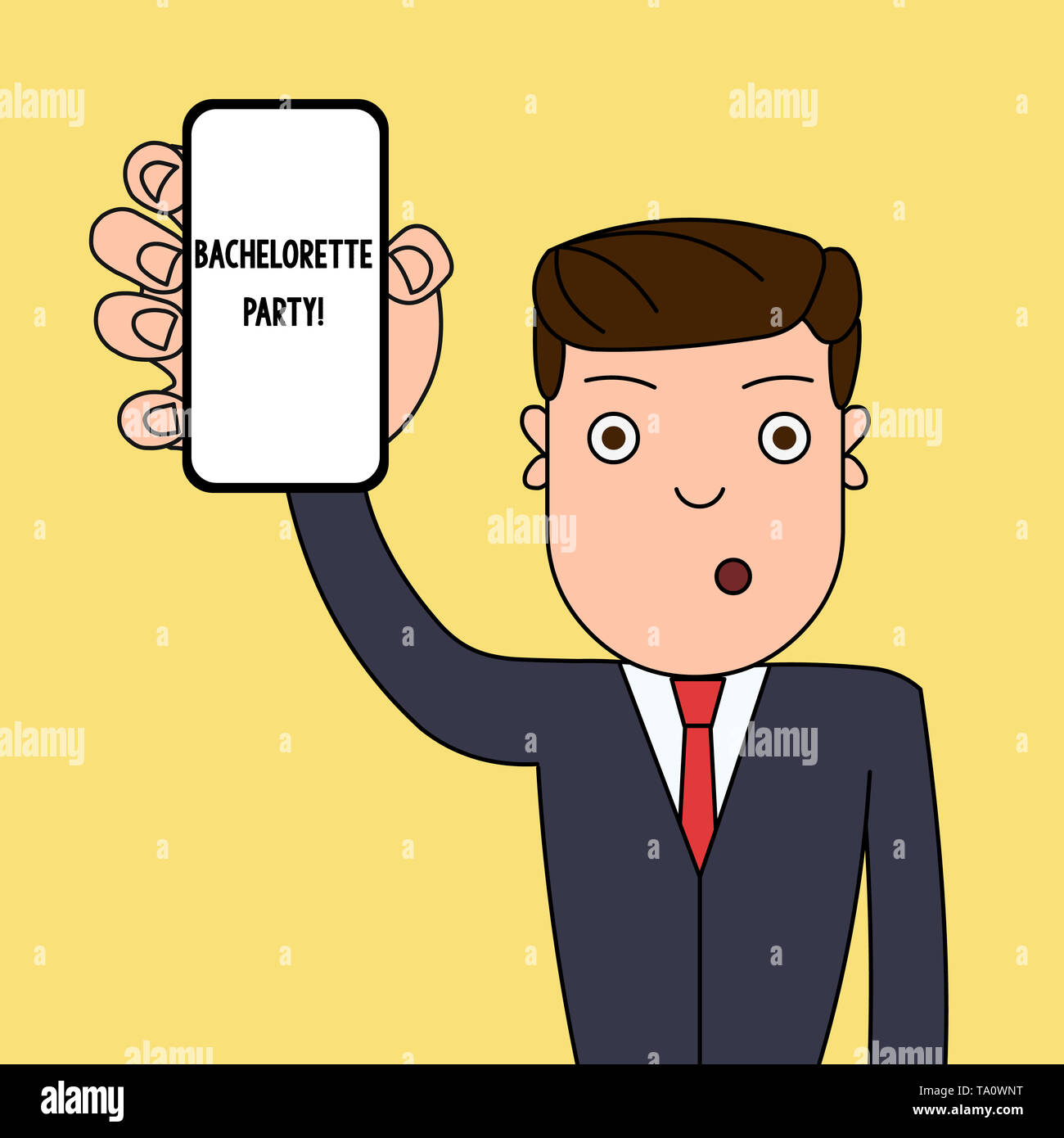 Writing note showing Bachelorette Party. Business concept for a party given for a woanalysis who is about to get married Man Holding Vertical Smartpho - Stock Image
