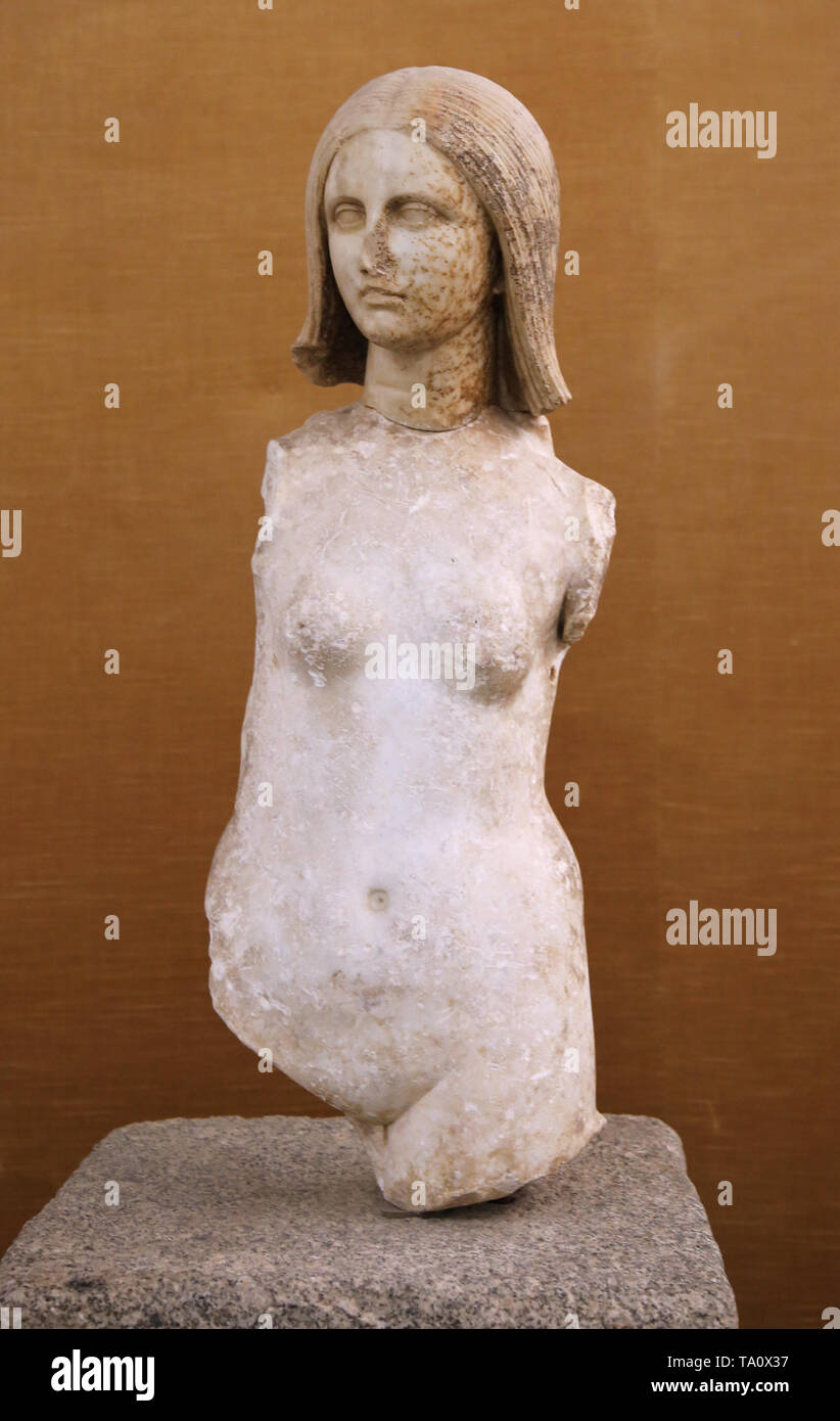 Nymph. From Mulva or Munigua. Villanueva de Rio y Minas, Andalusia, Spain. Archaeological Museum of Seville. Spain. Stock Photo
