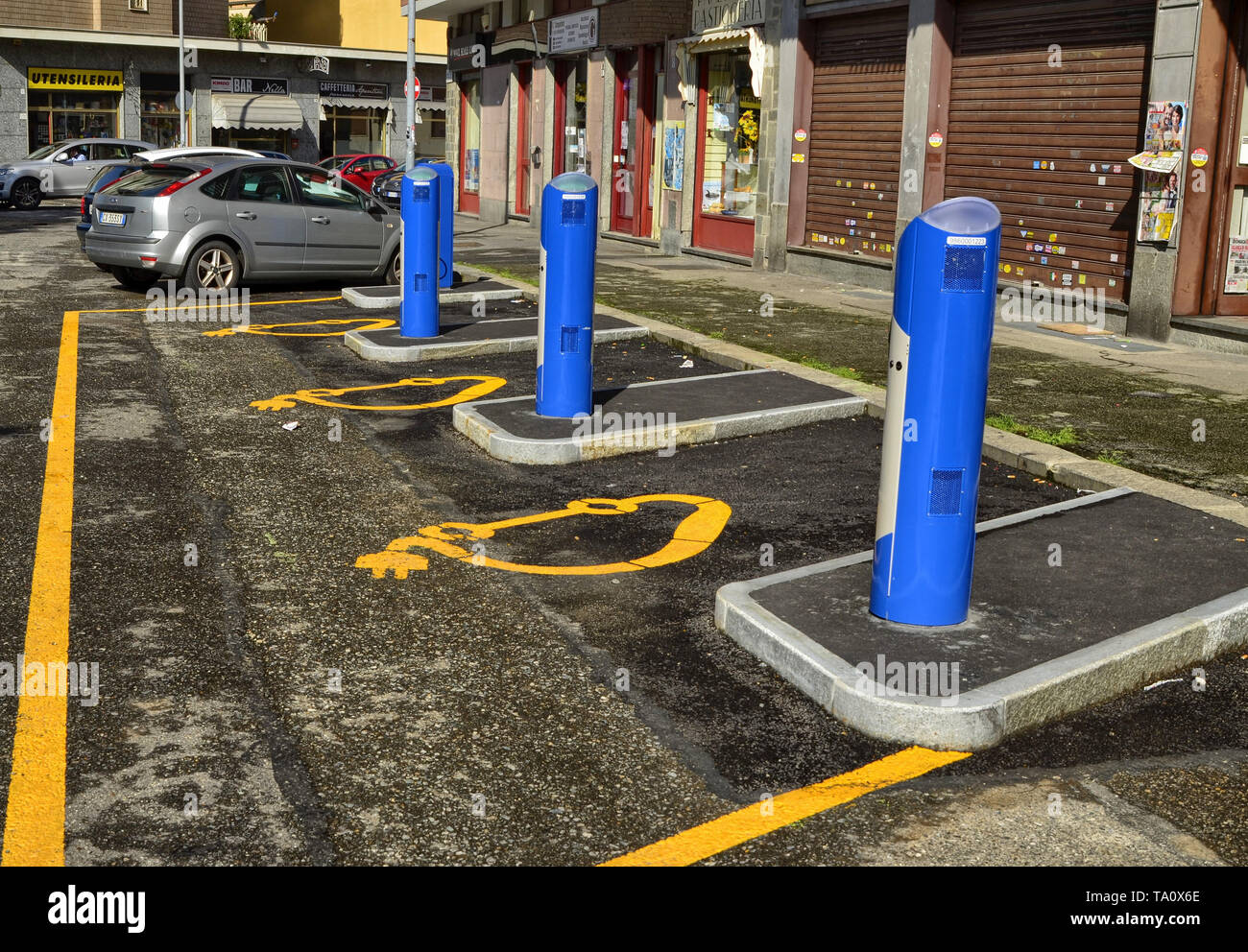 Turin, Italy, Piedmont June 08 2018. Electric car rental, parking with fast charging points. - Stock Image
