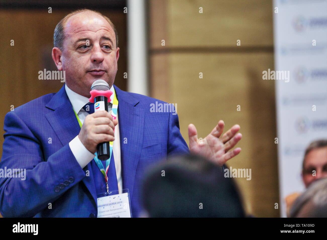 Ukraine's LPG Association (ULPGA) President Stanislav Batrachenko speaks at annual ULPGA Congress-19. Forum raised issues of LPG market development. - Stock Image