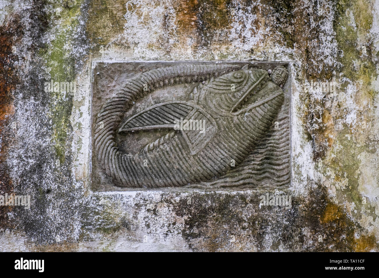 Primitive Catholic art a bas relief carving of Jonah being swallowed by a whale carved on a stone wall in Amalfi Campania Italy - Stock Image