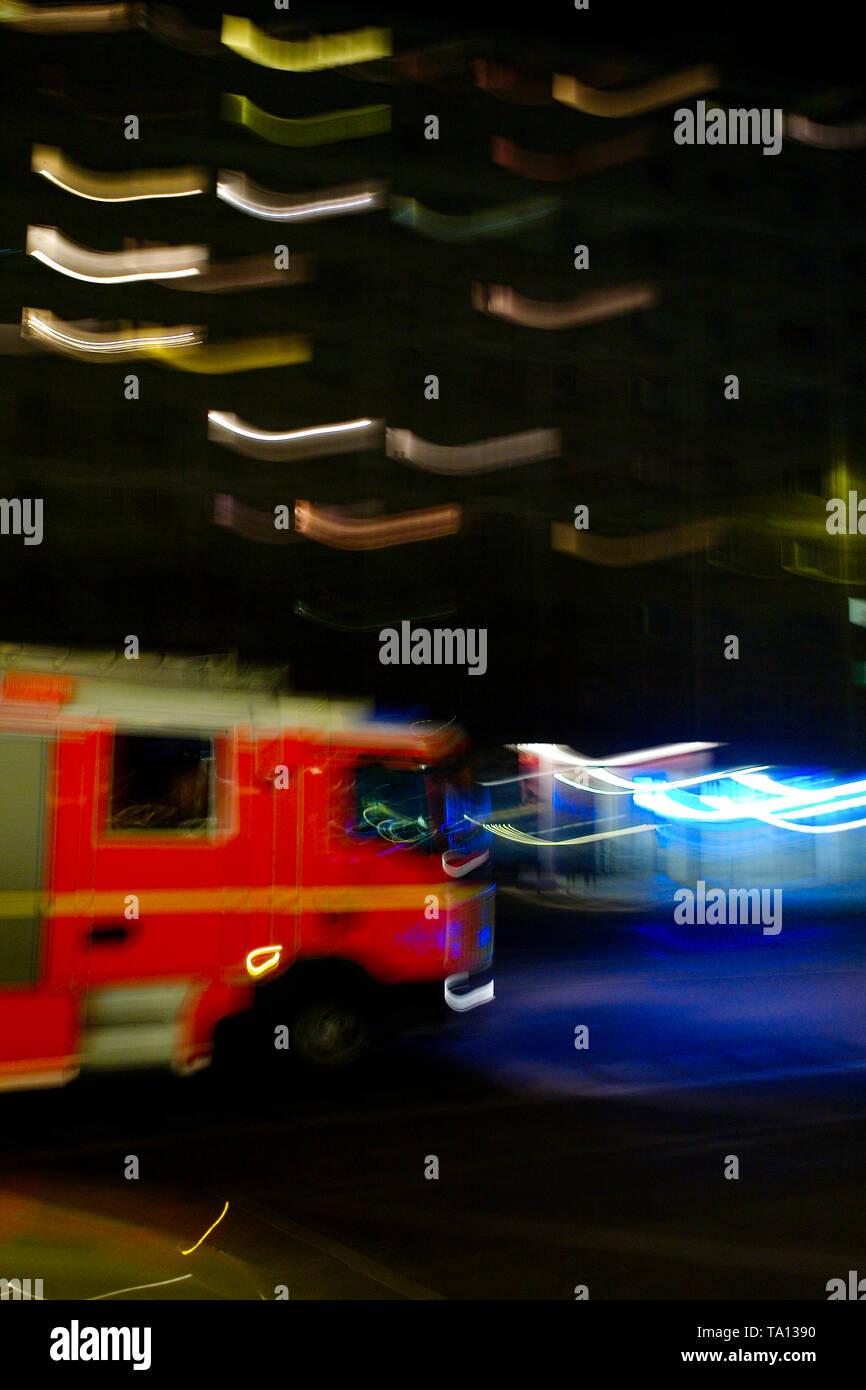 Firefighters velicle, Alexanderplatz, Berlin, Germany - Stock Image