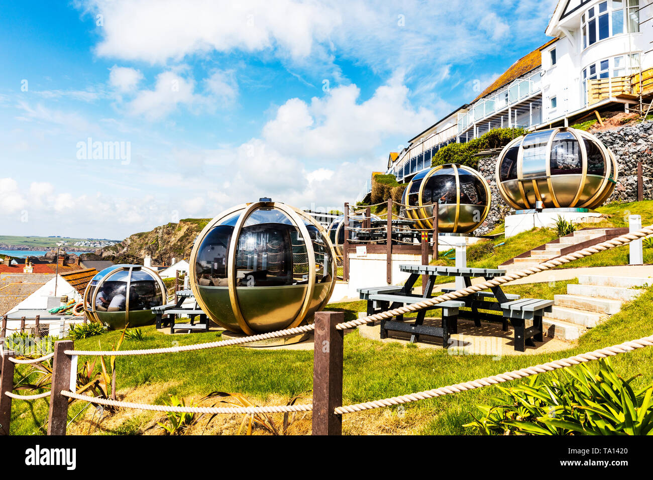 Lobster Pod Bistro in Hope Cove Devon, pod, pods, enclosed Pods, enclosed Pod, outside pods, garden pods, garden pod, summerhouse pods, summerhouses - Stock Image