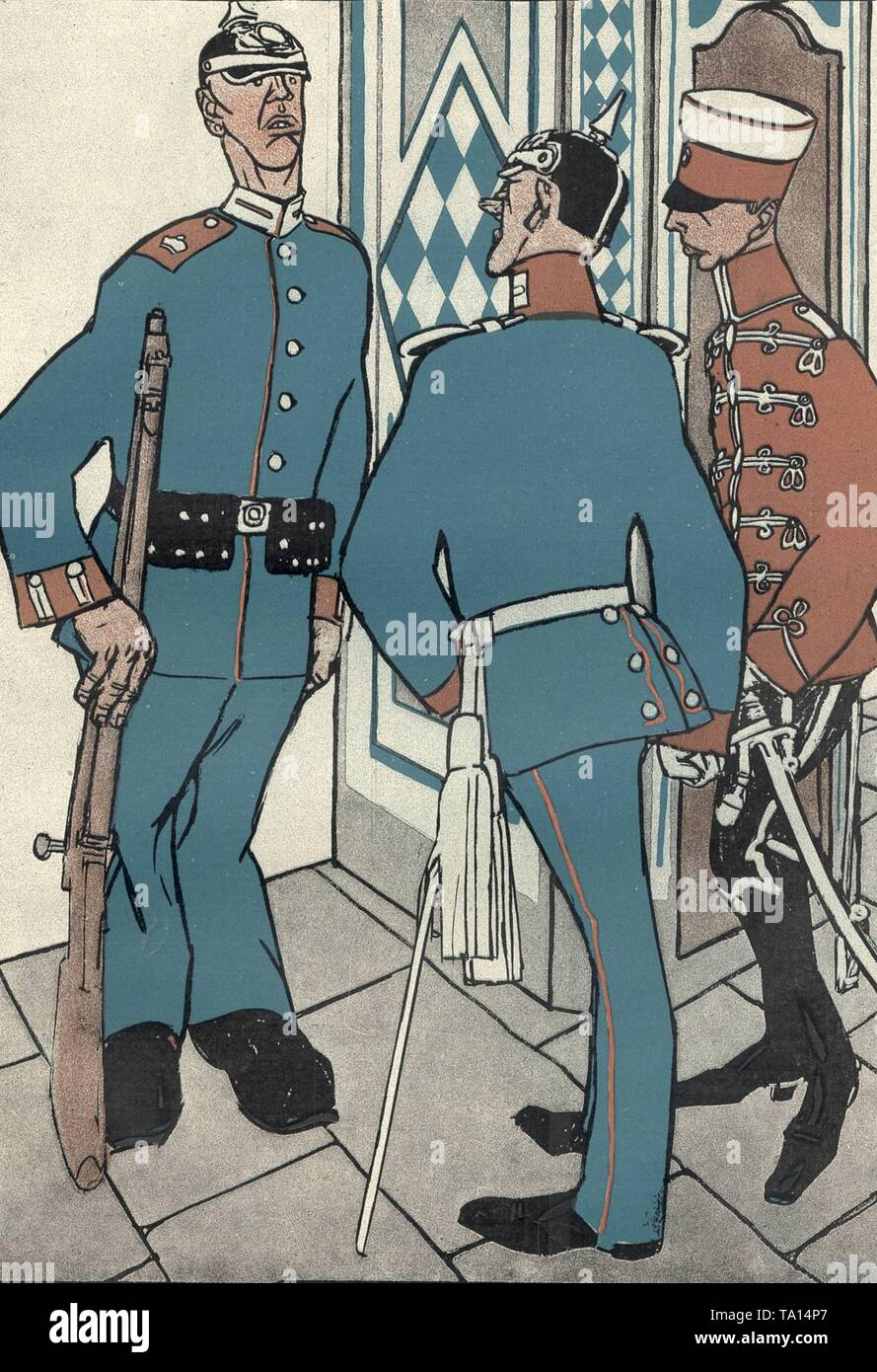 Why didn't you greet the lieutenant? - Because I thought he was a lackey '! - Cartoon on the uniform infatuation and the swank of the Wilhelmine military. Cartoon from the German magazine Simplicissimus, 1906 - Stock Image