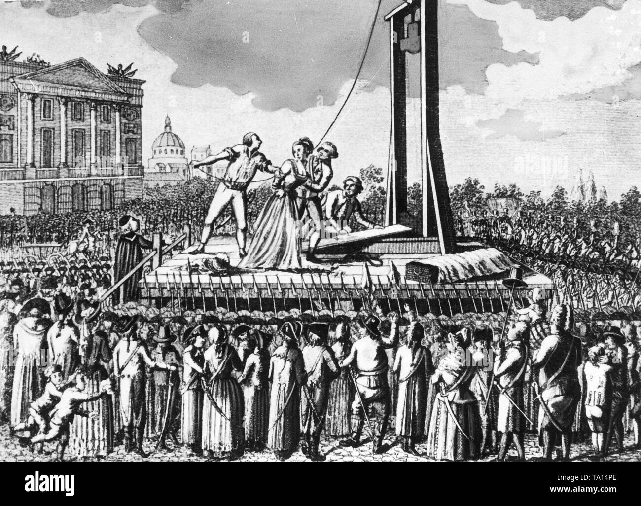 Contemporary drawing of the execution of the French queen Marie Antoinette, who was beheaded by guillotine in front of a large crowd on 16 October 1793. - Stock Image