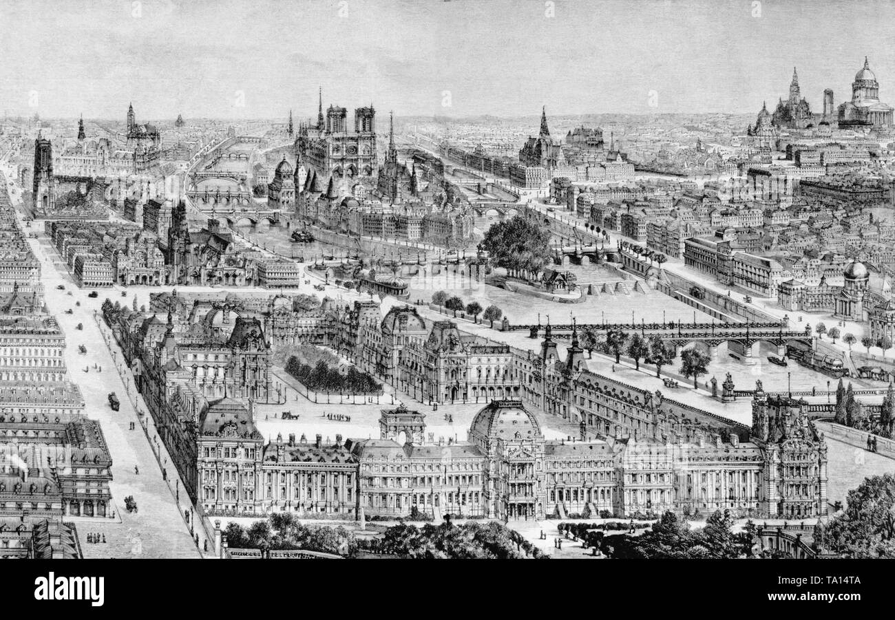 View of Paris. In the foreground you can see the Louvre, in the middle the Ile de la Cite, the Notre Dame Cathedral Paris and at right the Pantheon. Contemporary engraving. - Stock Image