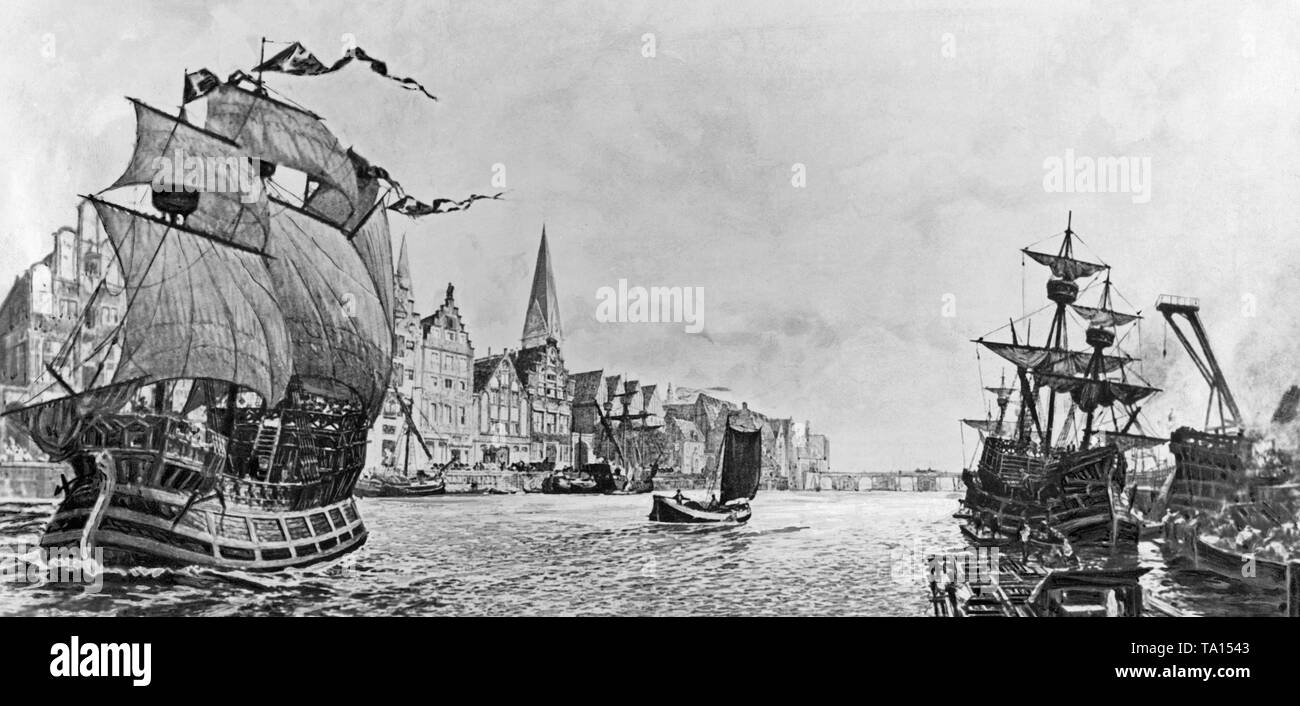 Hanseatic cogs in Bremen. Cogs were spacious freight sailing ships used for trade between the Hanseatic cities. - Stock Image