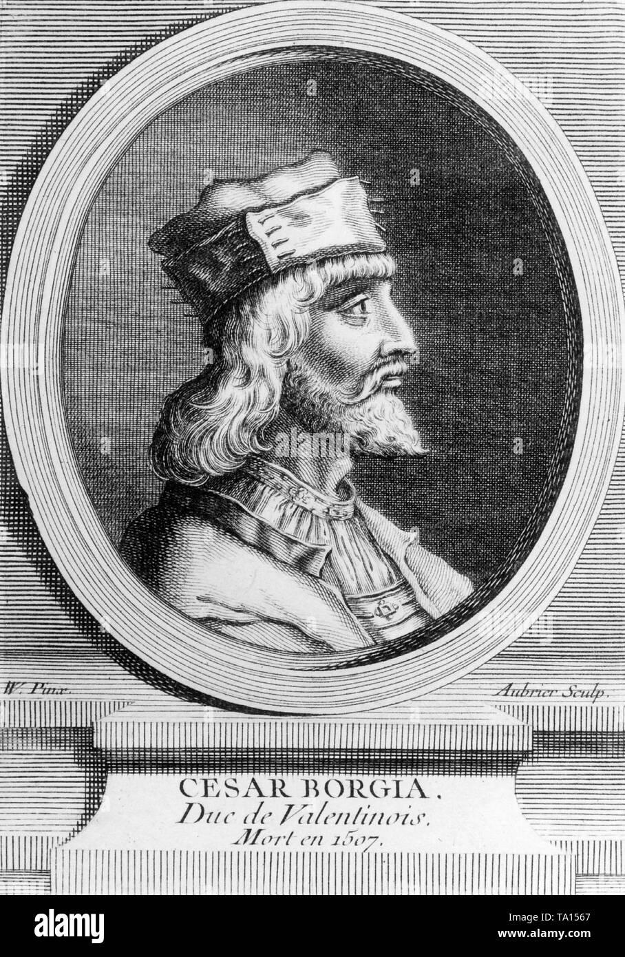 Profile portrait of Cesare Borgia, illegitimate son of Pope Alexander VI, circa 1500 - Stock Image